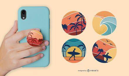 Set de popsocket de playa al atardecer