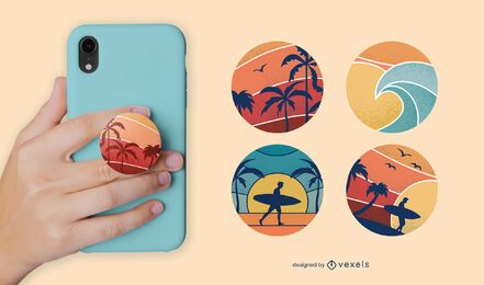 Sunset beach popsocket set