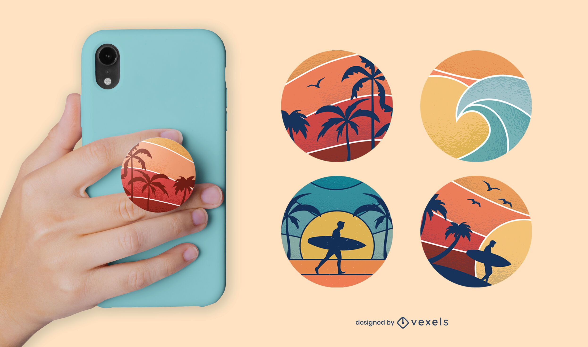 Sunset beach popsocket set