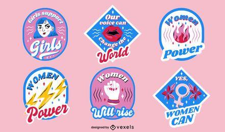 Conjunto de design de emblemas do dia feminino