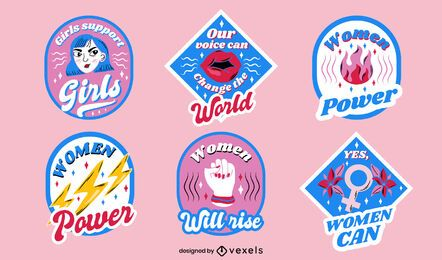 Women's day badges design set
