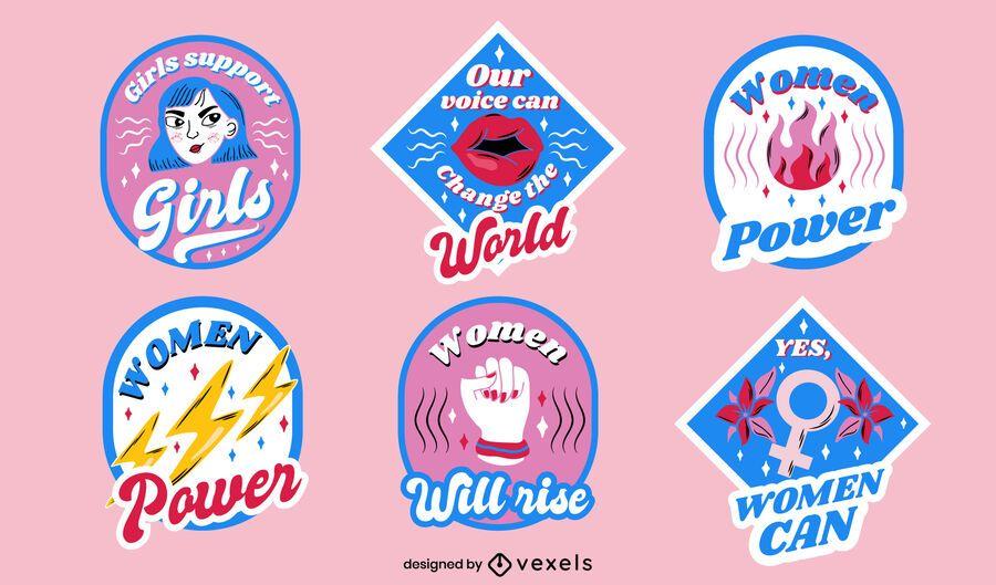 Women's day badges design set