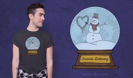 Diseño de camiseta de distanciamiento nevado