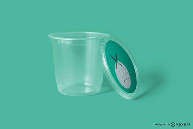 Diseño de maqueta de envases de plástico.