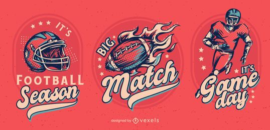 Football season badge design set