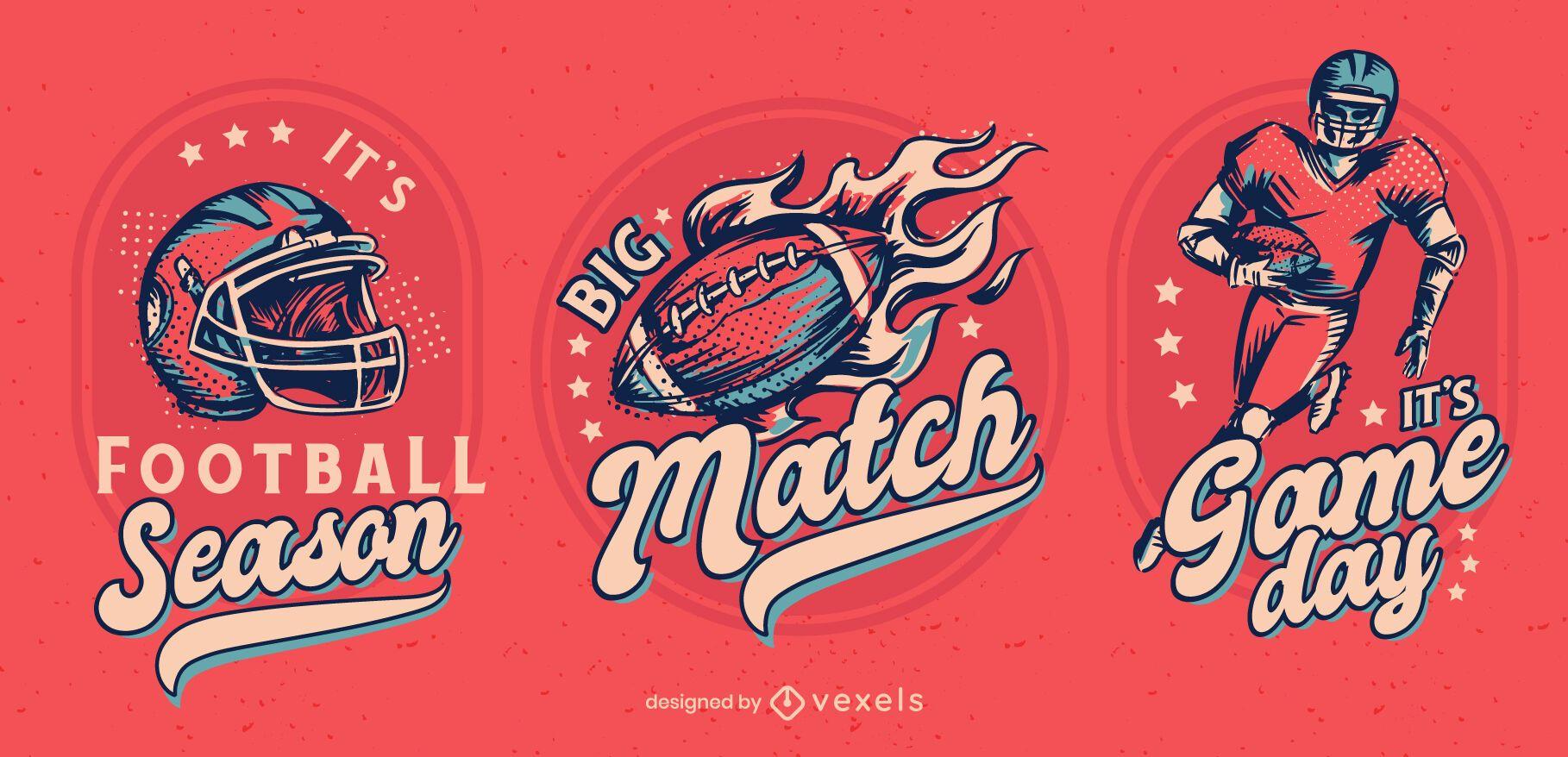 Football season badge design set