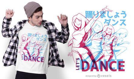 Diseño de camiseta de baile de anime.
