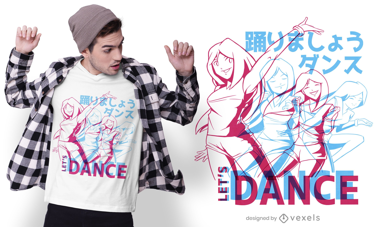 Design de camisetas de dança anime