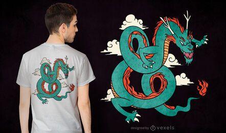 Diseño de camiseta de dragón chino verde