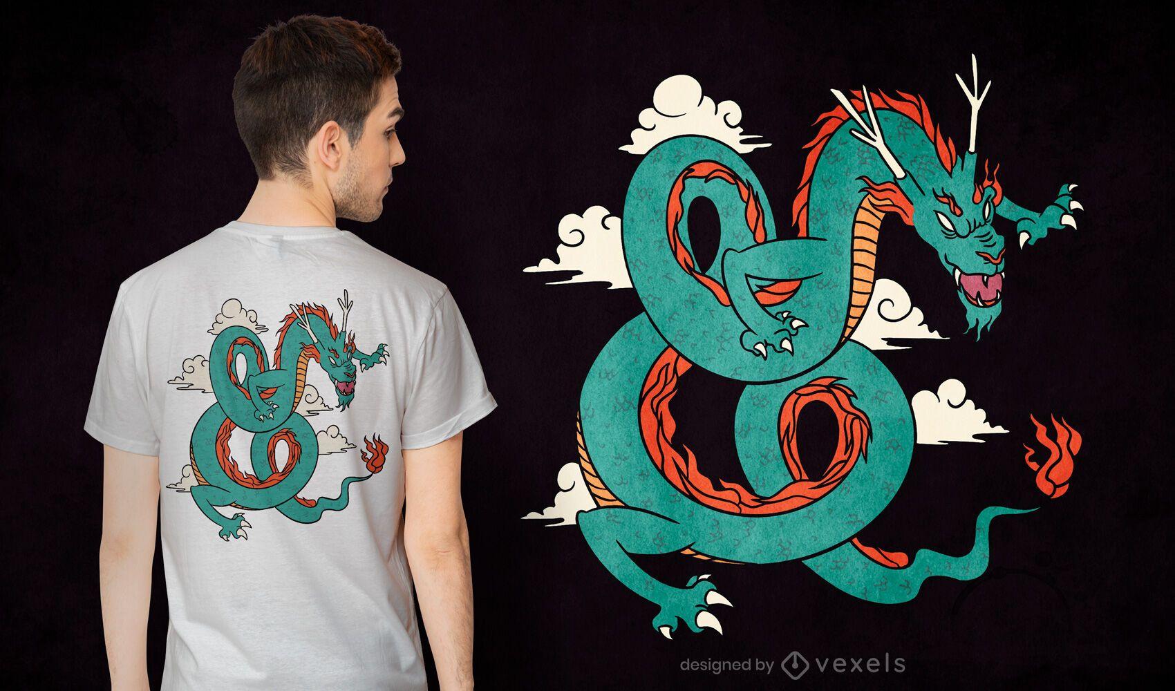 Design de camiseta com dragão verde chinês