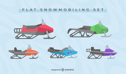 Conjunto de diseño plano de motos de nieve