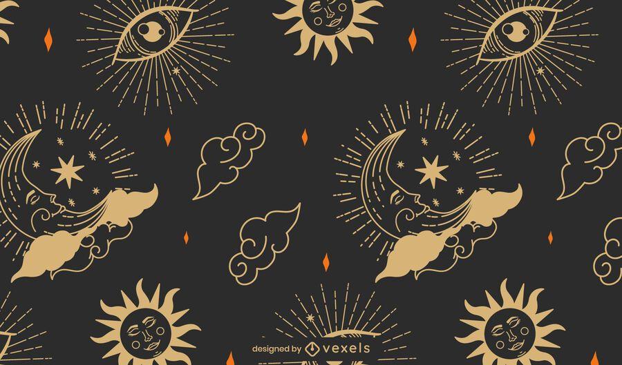 Desenho de padrão de astrologia mística