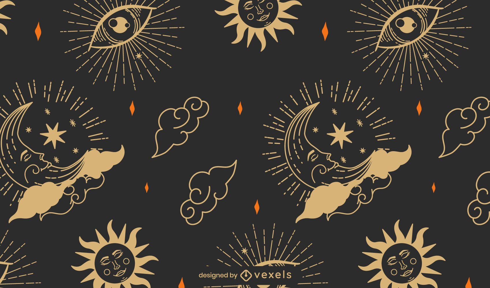 Diseño de patrón de astrología mística