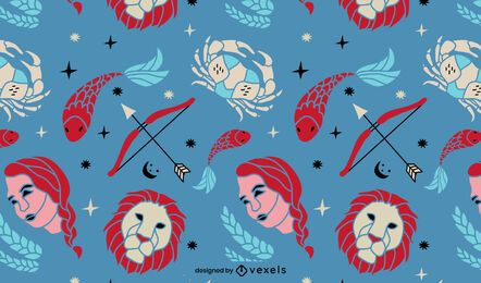 Zodiac signs astrology pattern design