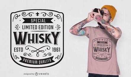 Diseño de camiseta con etiqueta de whisky.