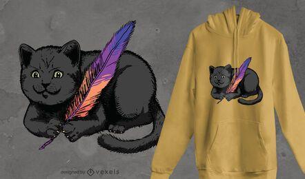 Design de camiseta com pena de gato preto