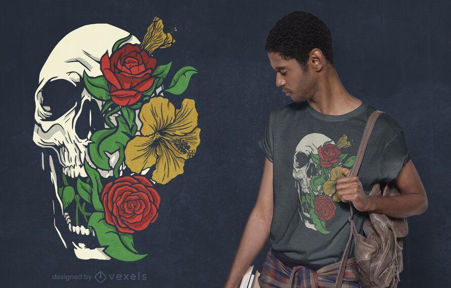 Diseño de camiseta de cráneo floral