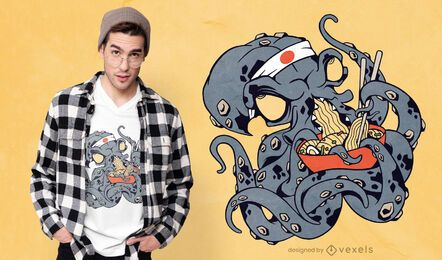 Diseño de camiseta Kraken comiendo ramen