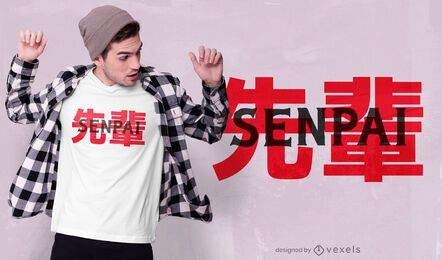 Design de camiseta japonesa senpai