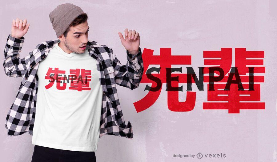 Diseño de camiseta japonesa senpai