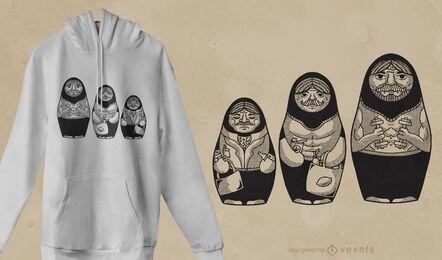 Design de camiseta masculina matryoshkas