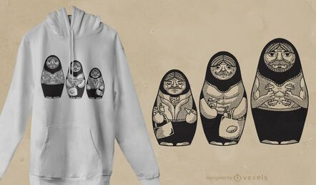 Male matryoshkas t-shirt design