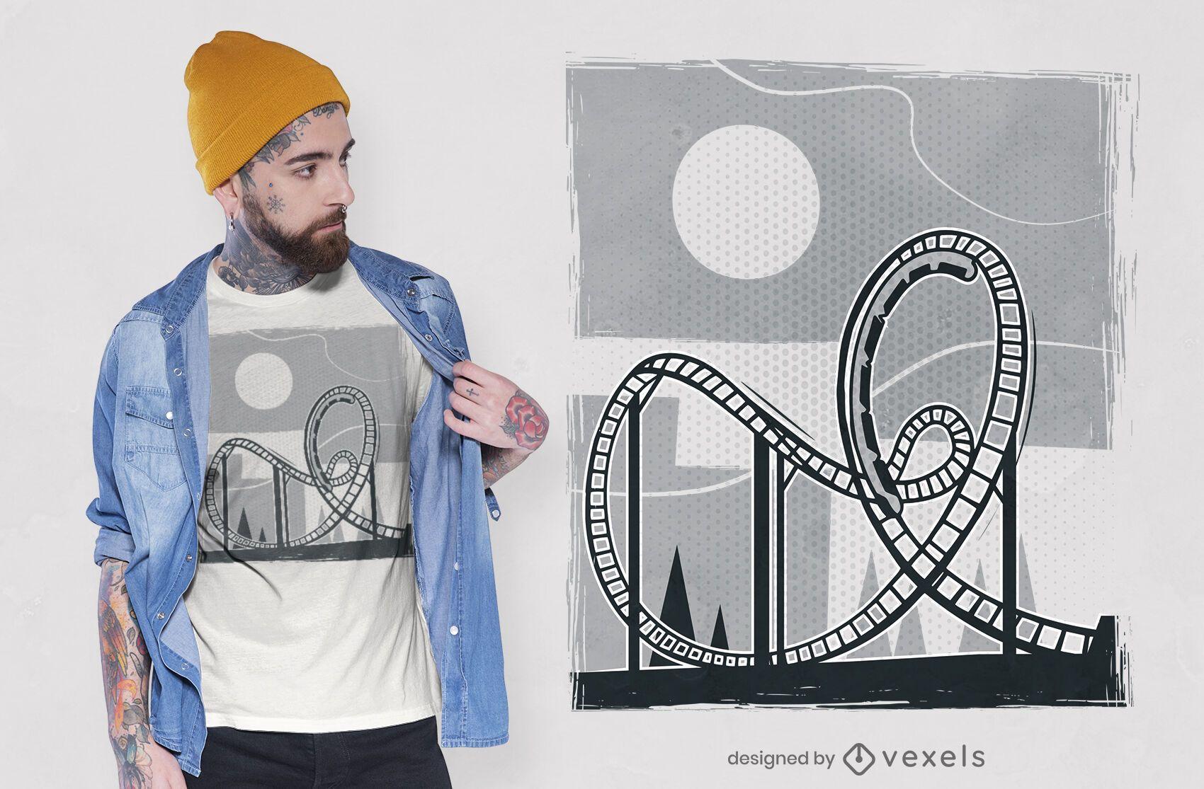 Design de camiseta de montanha-russa