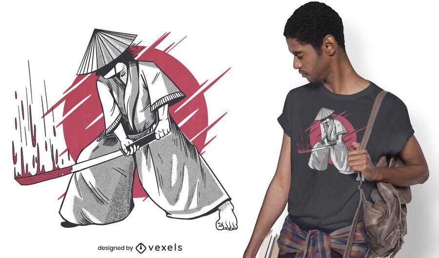 Diseño de camiseta samurai katana