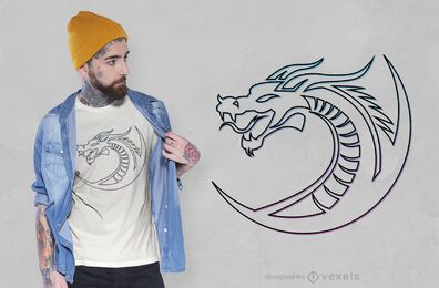 Stroke dragon t-shirt design