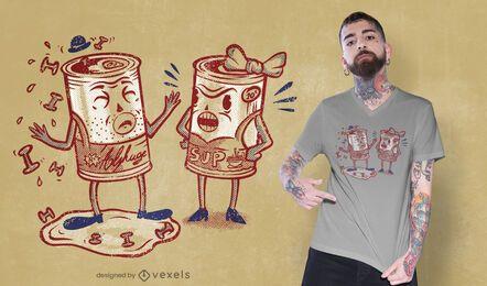 Design engraçado de camisetas com latas de alphaguetti