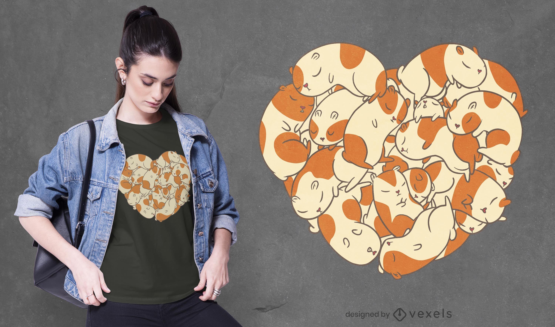 Diseño de camiseta de corazón de conejillos de Indias