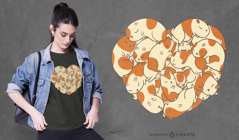 Guinea pigs heart t-shirt design