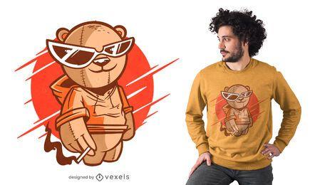 Diseño de camiseta de oso de gafas de sol