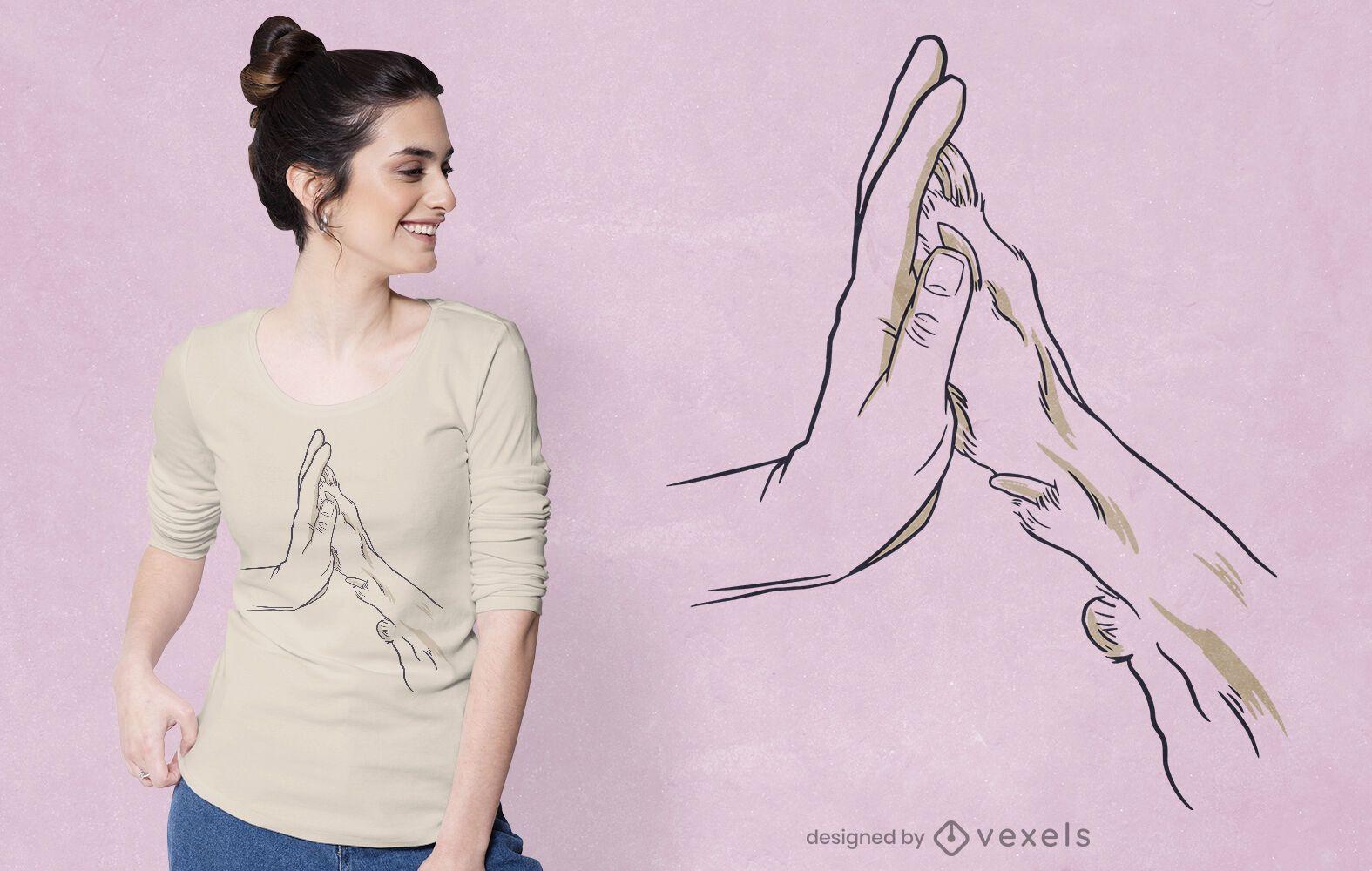 Diseño de camiseta de mano y pata.