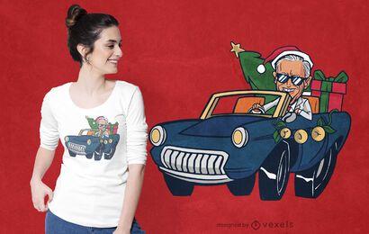 Diseño de camiseta navideña biden riding