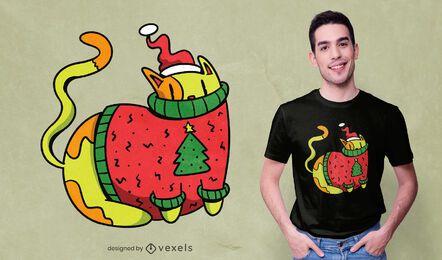 Katze mit Weihnachtspullover-T-Shirt Design