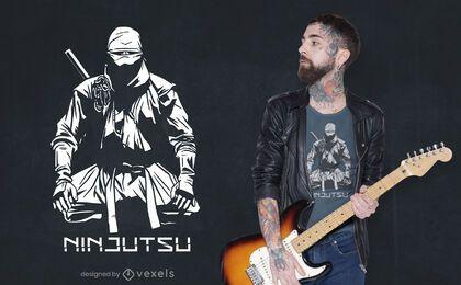 Diseño de camiseta ninja sentado