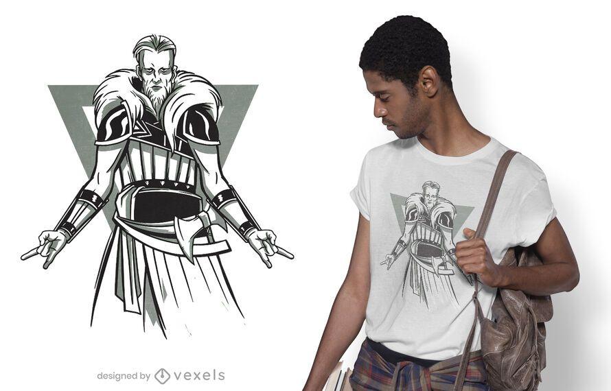 Diseño de camiseta heavy metal viking.