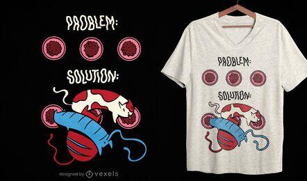 Diseño de camiseta de problema de comida para gatos.
