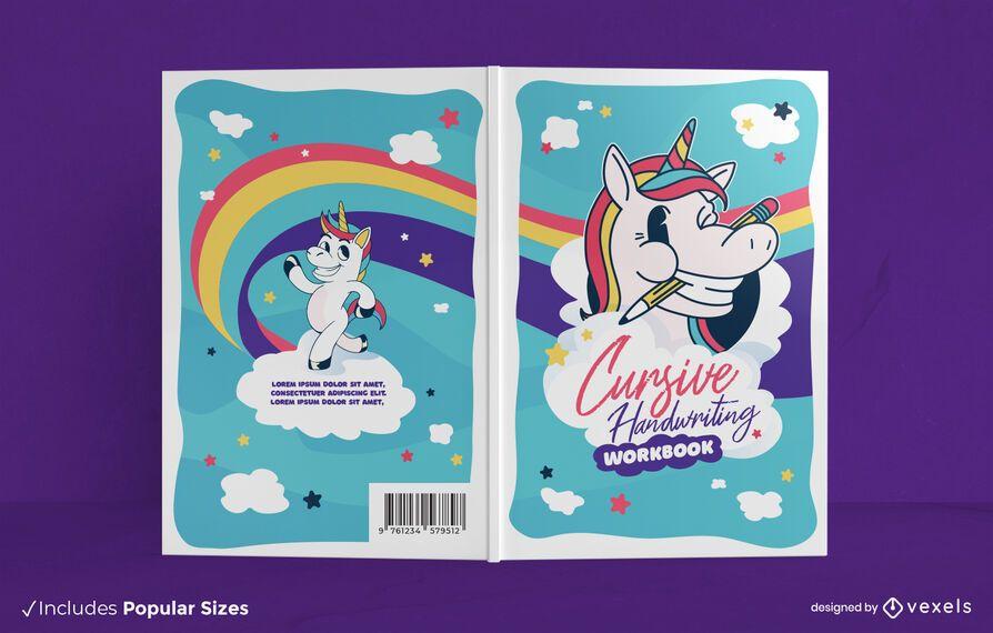 Diseño de portada de libro de escritura de unicornio