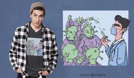 Design de camiseta da vacina contra o coronavírus
