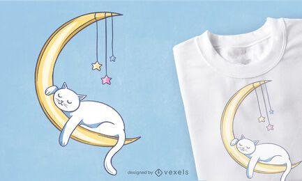 Gato dormindo na lua desenho de camiseta