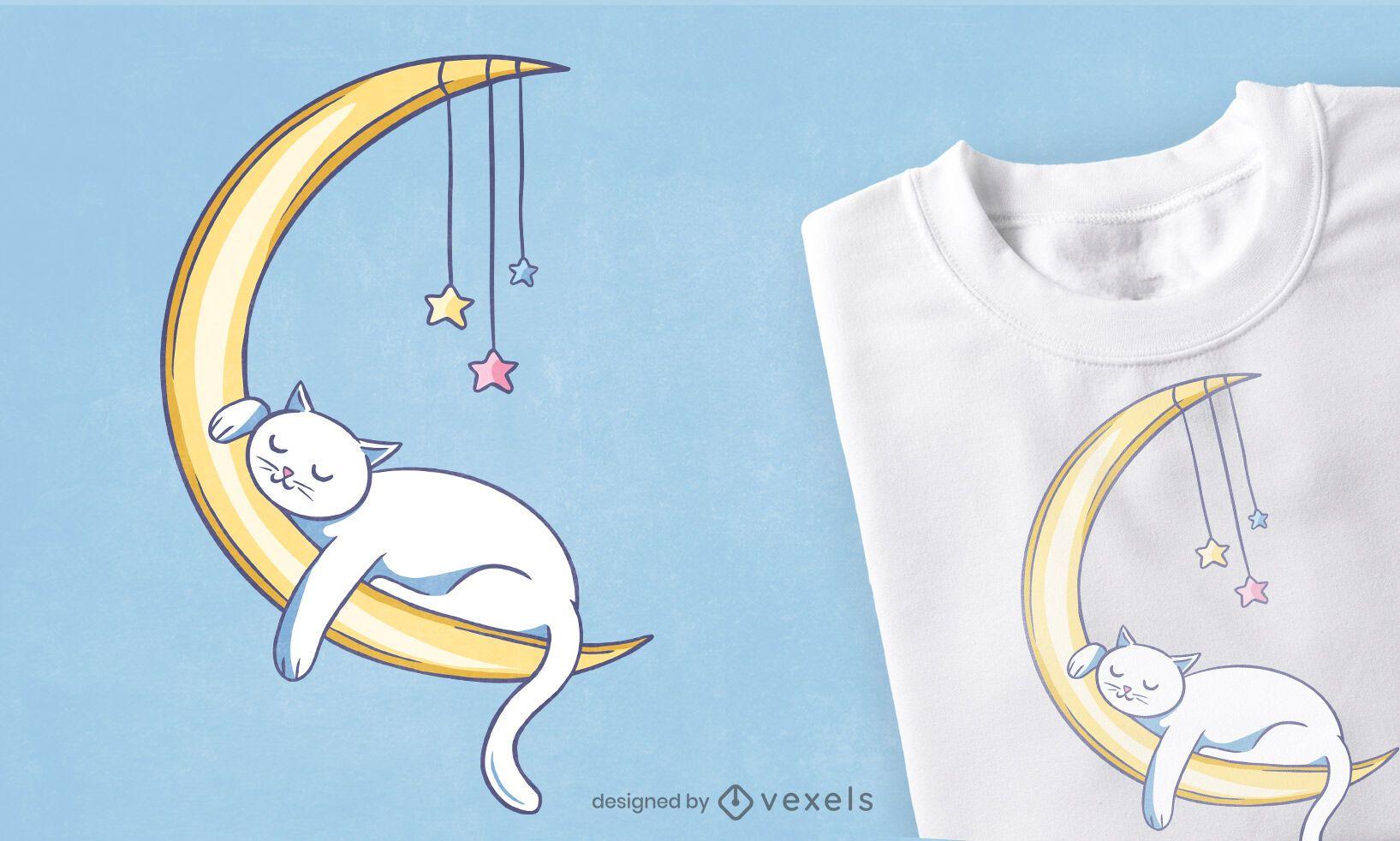Katze die auf Mond-T-Shirt Design schläft