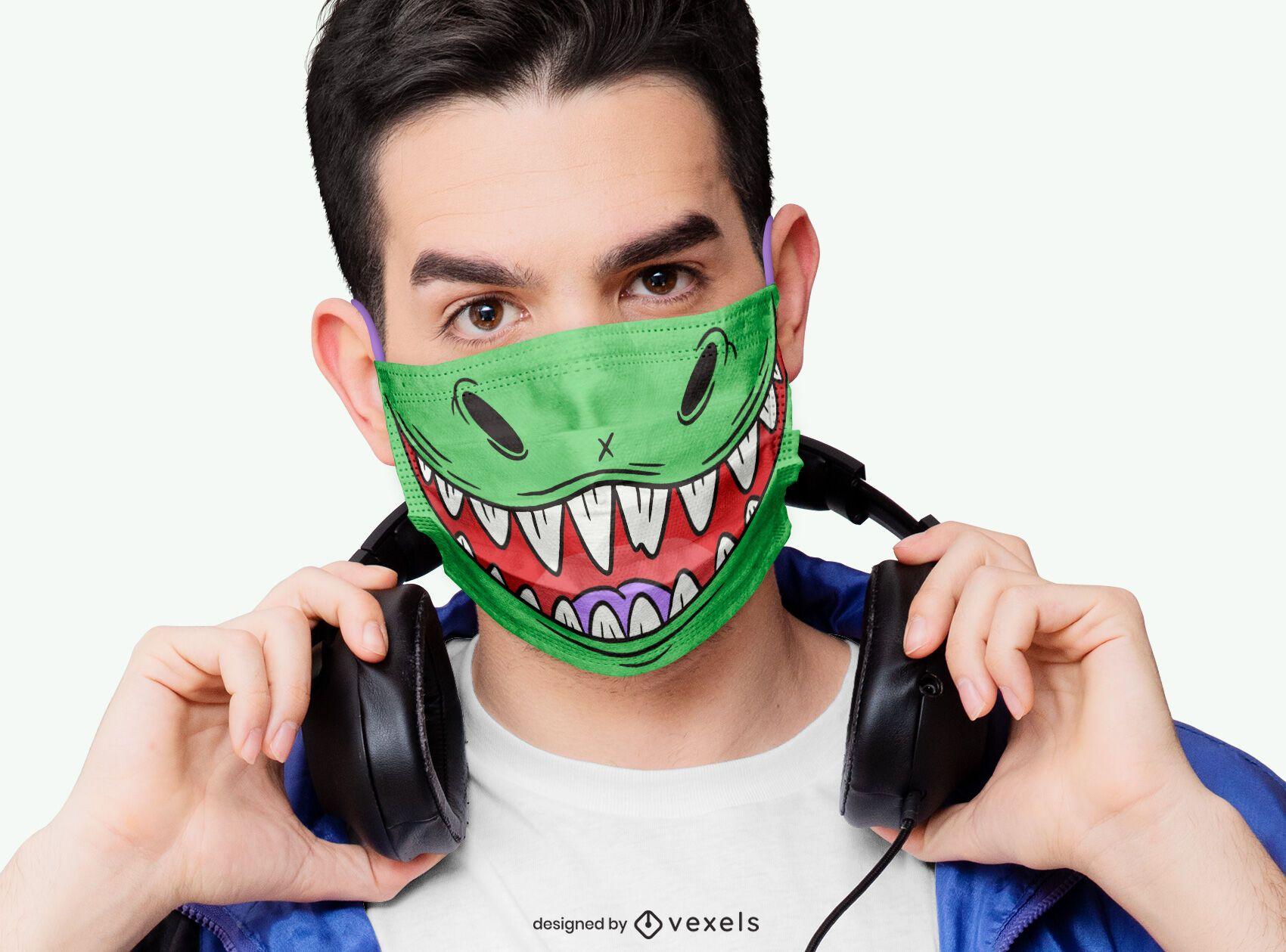 Dinosaur mouth face mask design