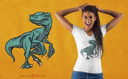 Diseño de camiseta de dinosaurio raptop