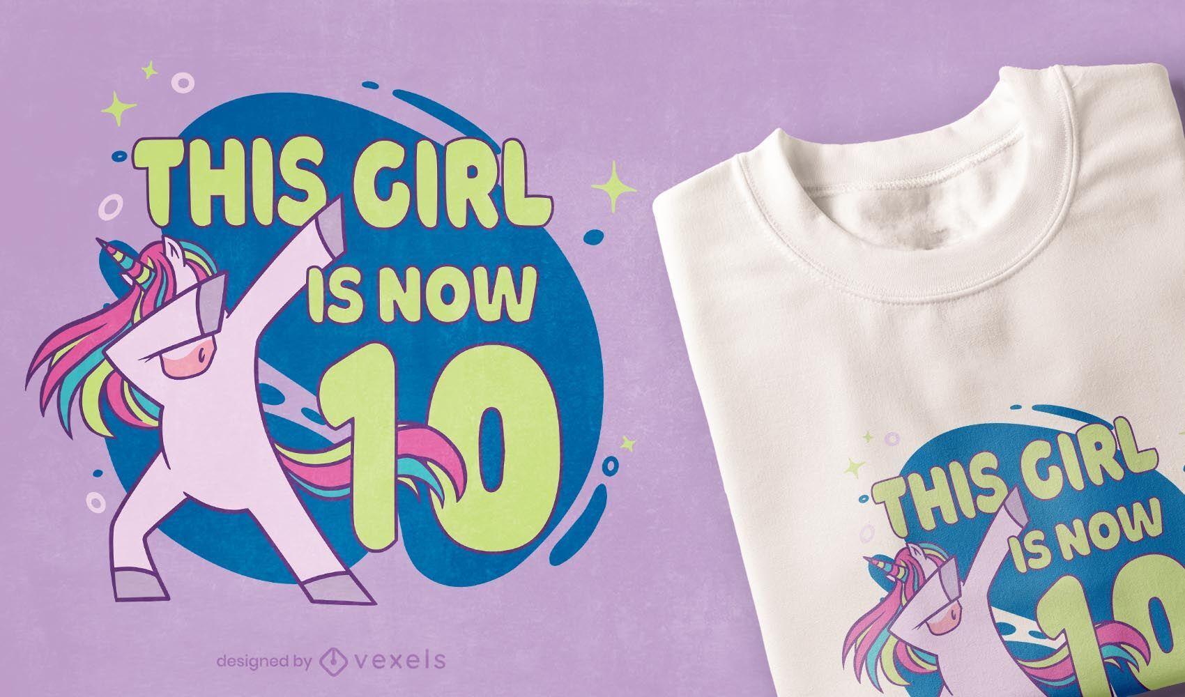 Dabbing design de t-shirt de unicórnio de aniversário