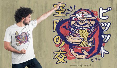 Design de camiseta de ramen do Pé Grande