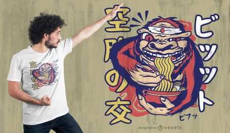 Diseño de camiseta Bigfoot ramen