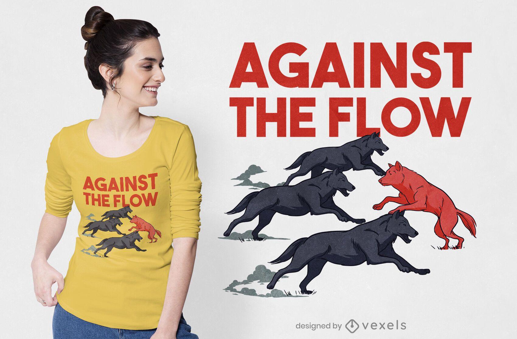 Against the flow t-shirt design