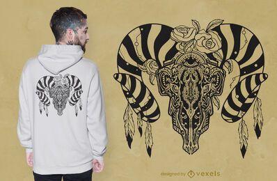 Diseño de camiseta de calavera de toro tribal